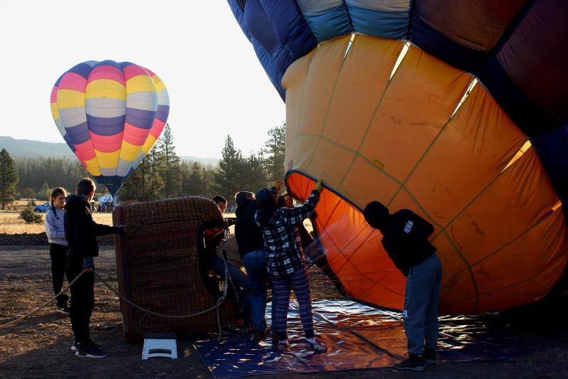 Filling hot air balloon around 7:00AM on Sunday, August 20th, 2017