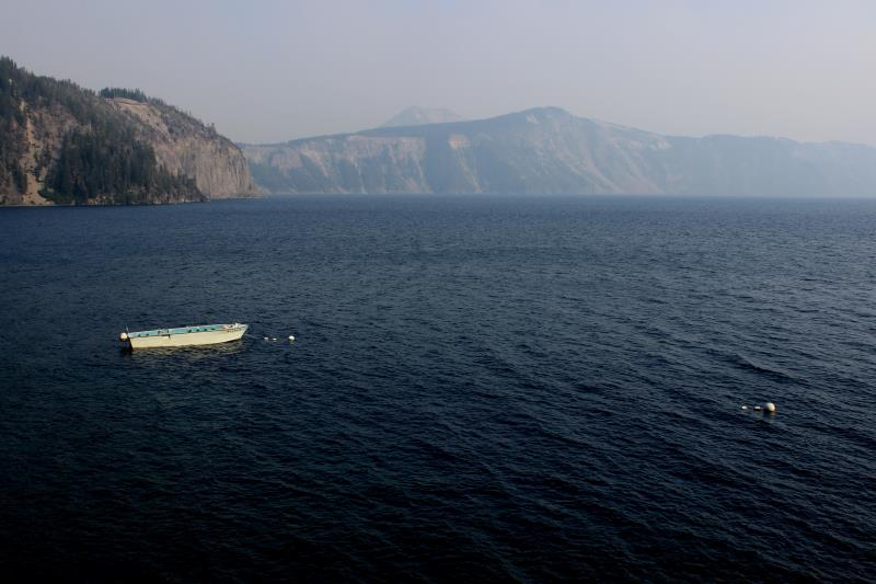 Boat on Crater Lake seen from near water