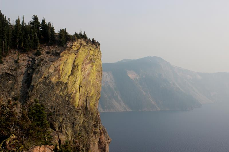View from overlook at rocks facing Crater Lake