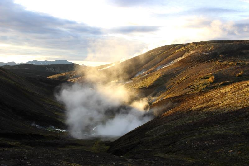 Steam with sun shining through on Laugavegur Trail