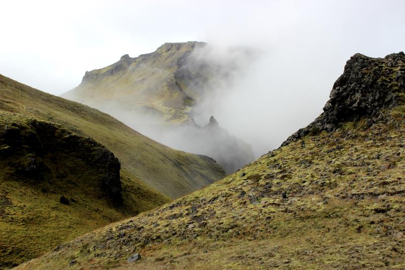 Fog on hills seen from Fimmvörðuháls Trail