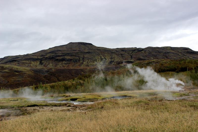 View of steam at Geysir