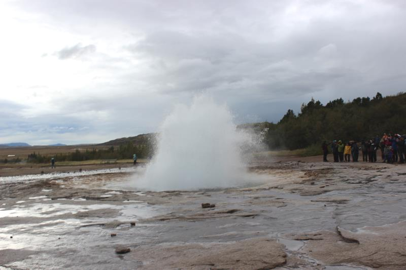 Strokkur erupting at Geysir, it erupts every 8-10 minutes on average