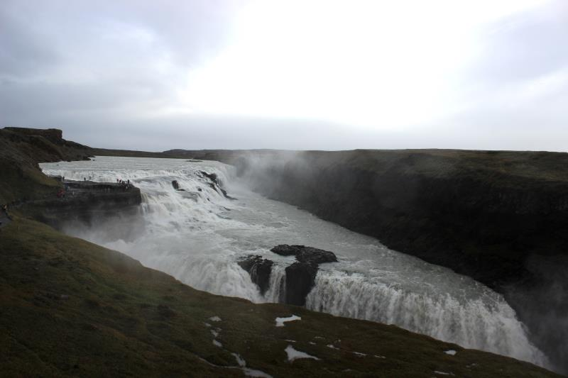 Gullfoss waterfall at a distance