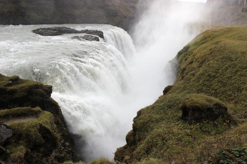 Gullfoss waterfall with mist