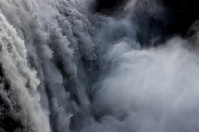 Close up view of water at Dettifoss waterfall