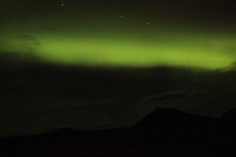 View of Northern Lights from Dreki campsite