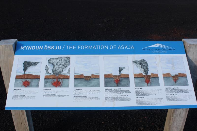 View of sign detailing formation of Askja lake