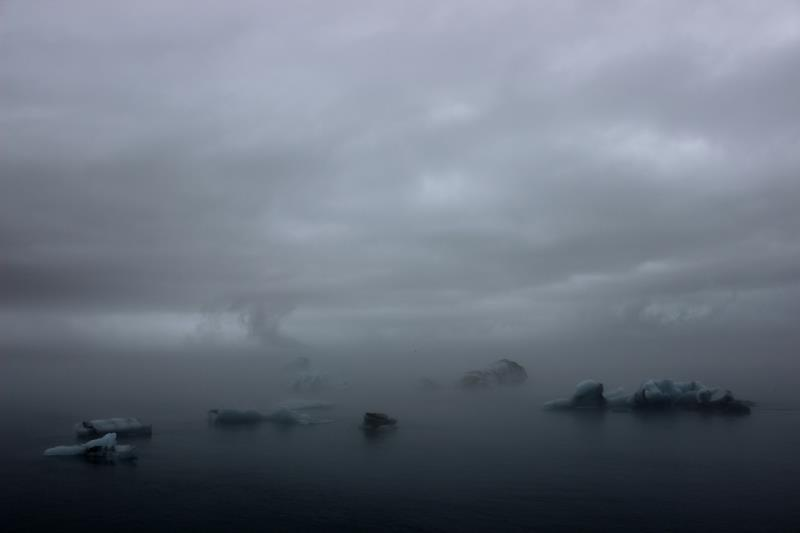 Many icebergs seen in the fog