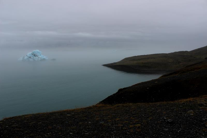 View of iceberg from land
