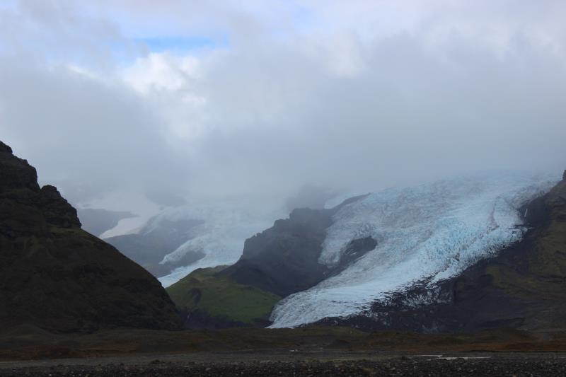 Glacier with clouds