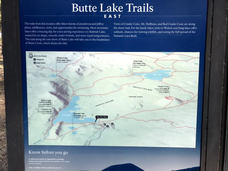 Map of trails around Butte Lake