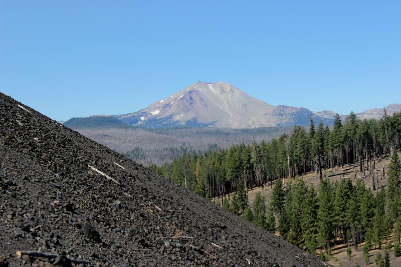 View of mountain on path to top of Cinder Cone