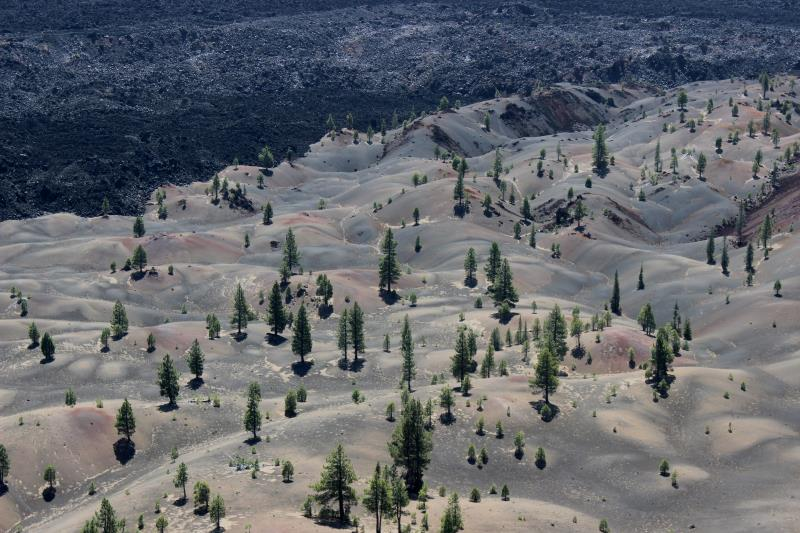View of Painted Dunes along ridge of Cinder Cone